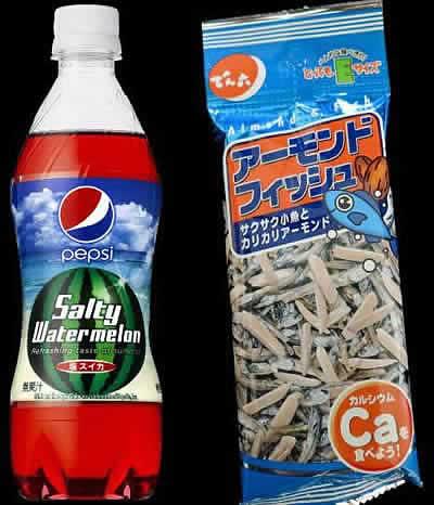 Almond & Fish Snacks & Salty Watermelon Pepsi