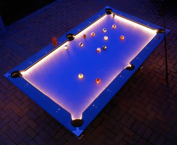 Pool table lit up
