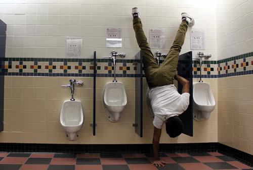 peeing upside down