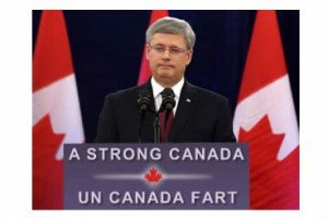 Stephen Harper Was Not Amused By Podium Sign