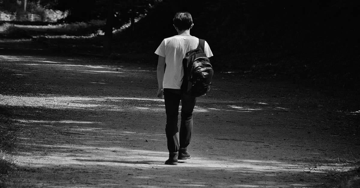 Solitude Man Walking Lonely Road