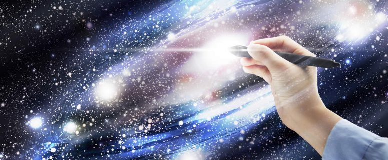 Memories - Hand holding a pen on a galaxy system