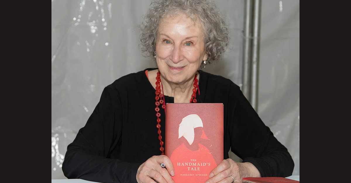 Margaret Atwood with a copy of her novel 'The Handmaid's Tale.'. Getty Images